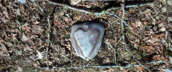 A stone heart on a ground of fall leaves and twig frame