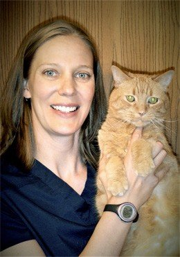 Veterinarian Dr Christine Nelson holding an orange cat
