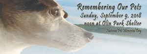 Invitation to Remembering our pets sponsored September 9, 2018