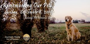 Invitation to Remembering our pets sponsored September 8, 2019