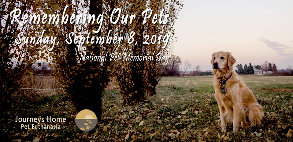 Invitation to Remembering Our Pets event September 8, 2019