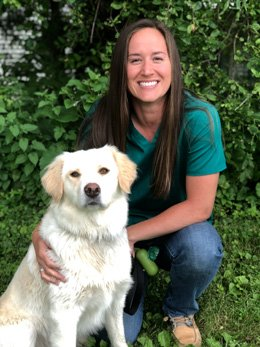 Vet Katie Weber with her dog