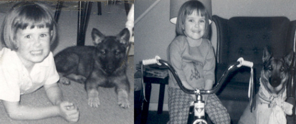 2 Old snapshots - Young girl and her dogs