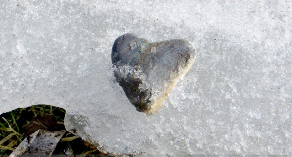 Ice heart - rock in shape of heart