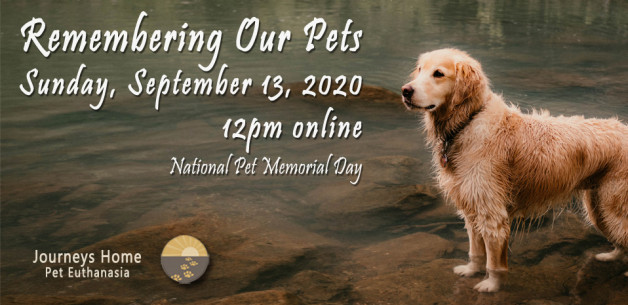 Invitation to Remembering Our Pets event September 13, 2020